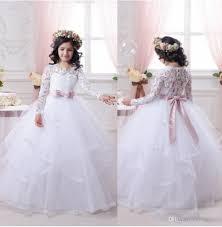 2017 white flower dresses for weddings long lace sleeve girls