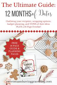the guide to 12 months of dates free printable