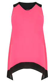 Pink Colour by Black U0026 Pink Colour Block Sleeveless Top With Hanky Hem Plus Size