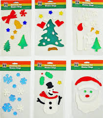 Christmas Window Decorations by Amazon Com Christmas Window Clings 6pk Of Holiday Gel Art