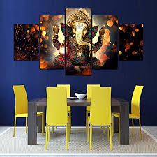 printelligent ganesha split painting 5 frames wall décor
