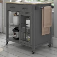kitchen appliance storage cabinet wommack rolling kitchen cart with solid wood top