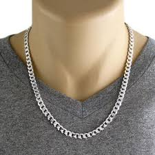 silver curb necklace images Sterling silver cuban curb chain necklace 7mm gauge 180 jpg