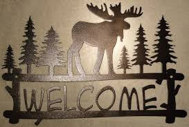 Home Decor Metal Wall Art Moose Welcome Sign Metal Wall Art Home Decor Copper Vein Welcome