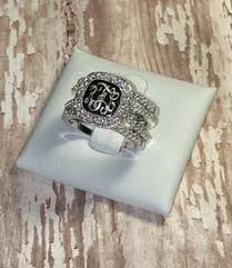 Monogram Rings Silver Monogram Ring Sterling Silver Stackable Ring Silver Fashion
