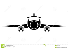 silhouette jet airplane private transport front view stock vector