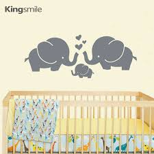 Decals Nursery Walls Modern Elephant Family Hearts Wall Stickers Vinyl Pvc Nursery Wall