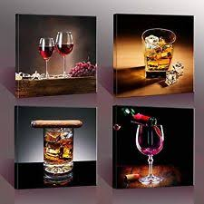 Canvas Home Decor 4 Wine Whisky Canvas Prints Wall Art Printing Pictures Framed Home