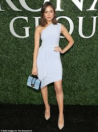 olivia culpo wows in one shoulder dress and heels at