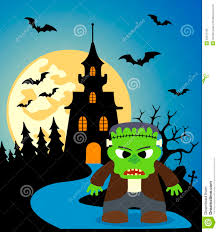 halloween background art halloween background with frankenstein royalty free stock photo