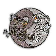grayscale and tiger yin yang patch black and white yin yang