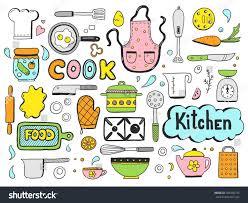 set hand drawn doodle cooking ingredient stock vector 700446733