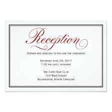 wedding reception card black white calligraphy wedding reception card zazzle
