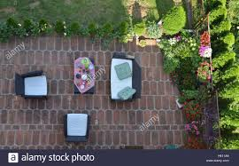 Flower Garden Chairs Bird U0027s Eye View Of Garden Furniture Surrounded With Flowers And