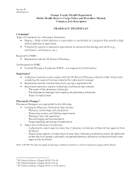 Volunteer Job Description For Resume by Pharmacy Technician Duties For Resume Free Resume Example And