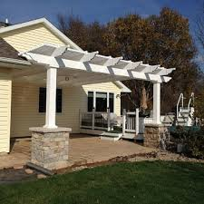 White Vinyl Pergola Kits by Attached 10 U0027 X 10 U0027 Pergola With 90 Shade And 5
