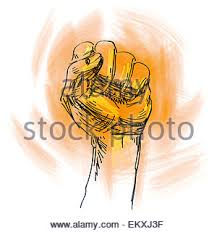 a black and white drawing of a fist stock photo royalty free