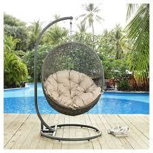hide outdoor patio swing chair in gray beige modway target