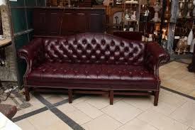 S Tufted Burgundy Chesterfield Leather Sofa And Chair Set With - Hickory leather sofa