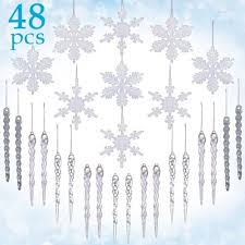 assorted clear icicle drops and white snowflake