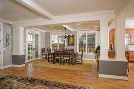 painted columns dining room craftsman with white columns