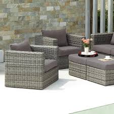 home brixton gray outdoor wicker chair and ottoman 4pc set