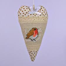 redbird heart christmas ornament cross stitched hanging decoration
