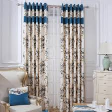 beige and blue pastoral chic insulated room darkening curtains
