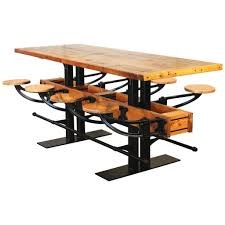 Kitchen Bar Furniture Vintage Industrial Wood And Steel Swing Out Seat Bar Table Rustic
