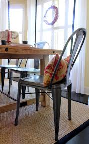 Rustic Wood And Metal Dining Chairs Furniture Creative Dining Room Decoration With Rectangular Cherry
