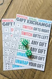 printable question dice the best gift exchange game ever switch steal or unwrap