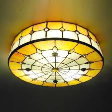 3 light flush mount ceiling light fixtures round shade 16 inch yellow stained glass tiffany 3 light flush mount