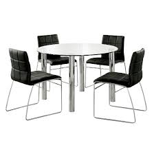 Round Dinette Table Iohomes 5pc Glass Top Chrome Leg Round Dining Table Set Metal