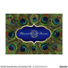 Invitation Cards Chennai Hindu Ganesh Peacock Feathers Wedding Invite Blue 5