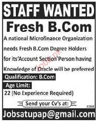 resume sles for fresh graduates bcom b com degree holder job opportunity 2018 jobs pakistan