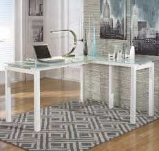 L Shaped Home Office Desk Signature Design By Ashley Baraga White Finish Metal L Desk With