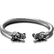 steel cuff bracelet images Elastic adjustable mens dragon bracelet steel twisted jpg