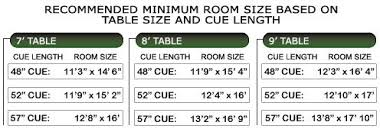 pool table sizes chart ocala fl amusement and billiards supplies and service