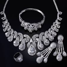 cubic zirconia necklace sets images Women bridal jewelry sets rhodium plated with cubic zircon 4pcs jpg