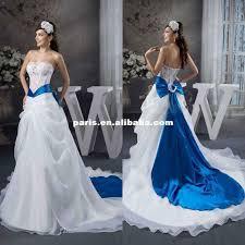 gorgeous elegant satin lace appliqued wirh bowknot sash royal blue