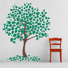 leafy tree wall art decal