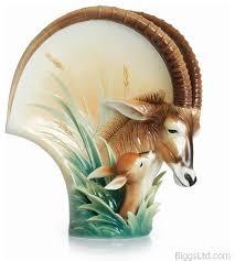 Franz Vase Franz Porcelain Collection Sable Antelope Porcelain Mid Size Vase