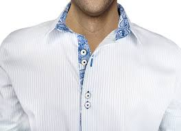 white with blue accent dress shirts