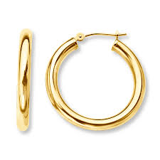 mens gold earrings hoop earrings 14k yellow gold 25mm
