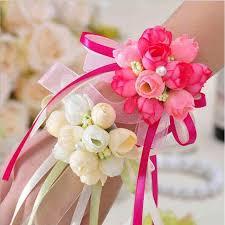 Curtain Band 1pcs Wrist Flower Rose Silk Ribbon Bride Corsage Hand Flower