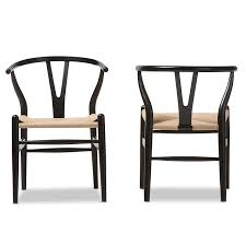 Black Dining Chairs Baxton Studio Wood Wishbone Y Chair Black Chairs