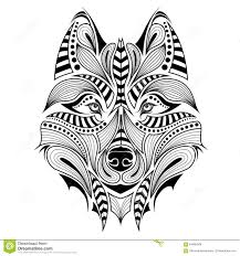 wolf indian tattoos designs patterned head of the wolf stock vector image 53667499