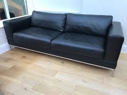 ikea black leather sofa ikea black leather sofa arild 3 seater sofa in southton