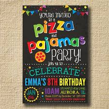 pizza pizza and pajamas invitation by creativelime