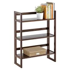 Discount Solid Wood Bookcases Folding Bookshelf Java Solid Wood Stackable Folding Bookshelf
